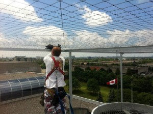 Installing bird netting on top of a cooling tower.